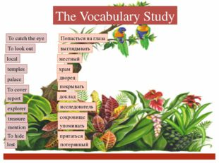 The Vocabulary Study To catch the eye To look out local temples palace To cov