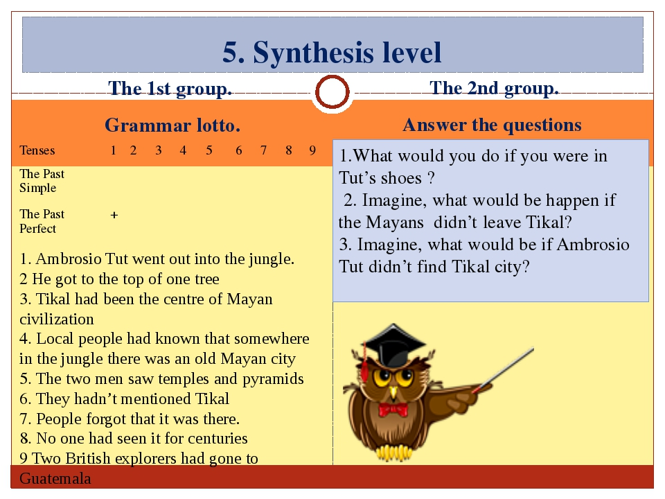 The 1st group. Grammar lotto. The 2nd group. Answer the questions 5. Synthesi...