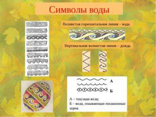 Символы воды Волнистая горизонтальная линия – вода. Вертикальная волнистая ли
