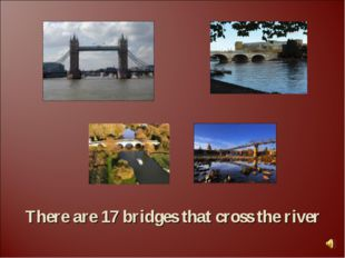 There are 17 bridges that cross the river