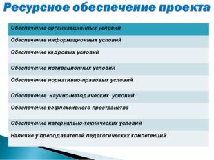 Обеспечение организационных условий Обеспечение информационных условий Обеспе