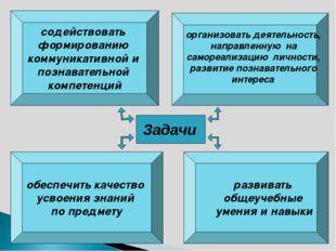 обеспечить качество усвоения знаний по предмету содействовать формированию ко