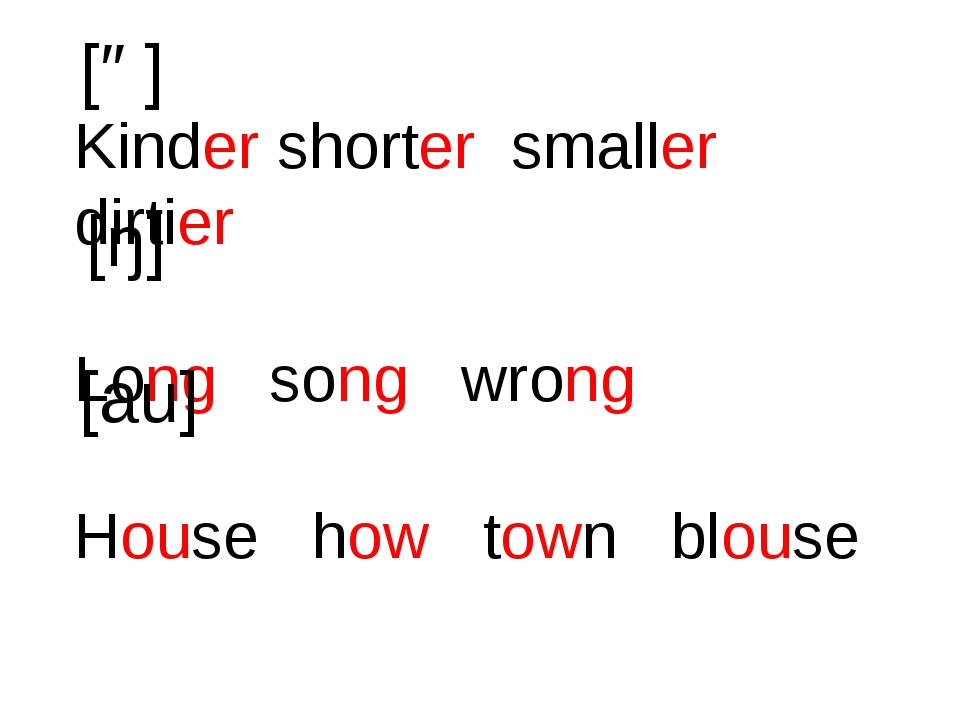 Kinder shorter smaller dirtier Long song wrong House how town blouse [ə] [ŋ]...