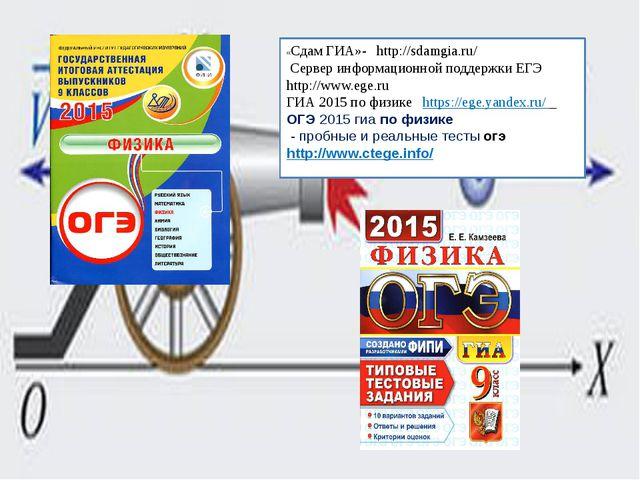 «Сдам ГИА»- http://sdamgia.ru/ Сервер информационной поддержки ЕГЭ http://www...