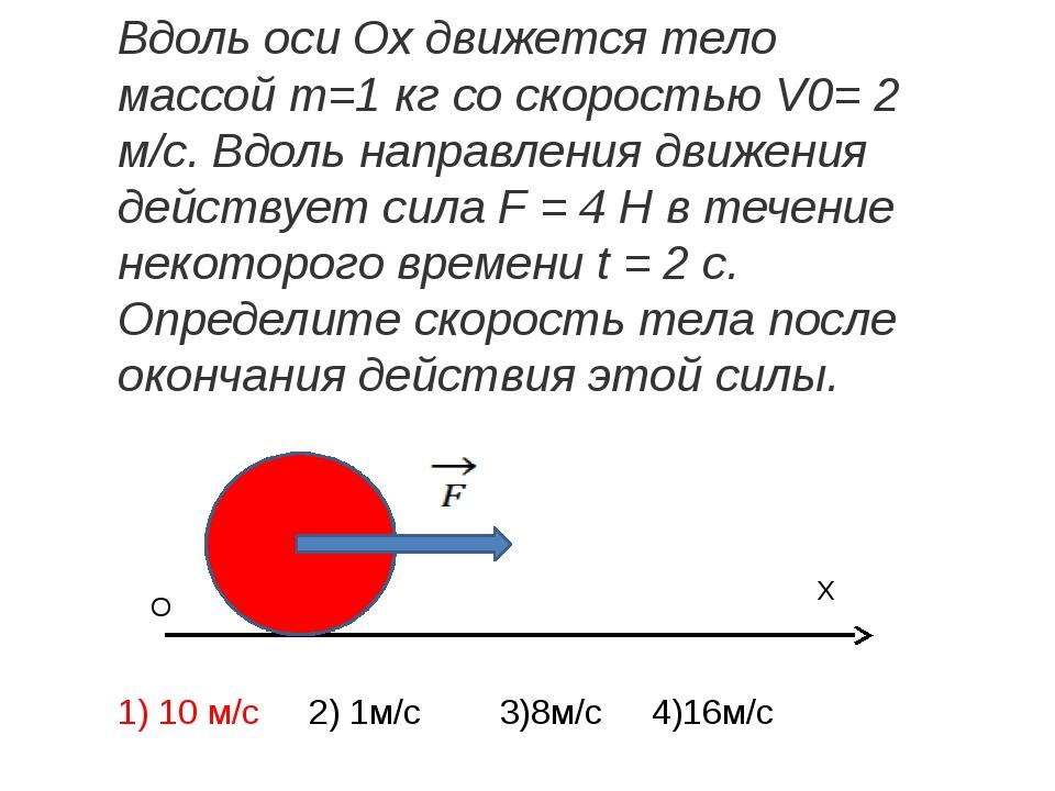 X O Вдоль оси Ох движется тело массойm=1 кг со скоростьюV0= 2 м/с. Вдоль н...