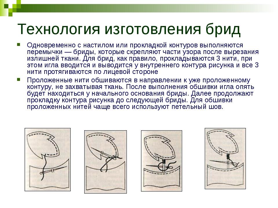 Технология изготовления брид Одновременно с настилом или прокладкой контуров...
