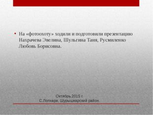 Октябрь,2015 г. С.Лопхари, Шурышкарский район. На «фотоохоту» ходили и подгот