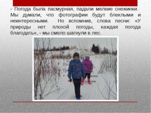 - Погода была пасмурная, падали мелкие снежинки. Мы думали, что фотографии бу
