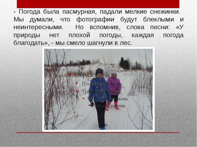 - Погода была пасмурная, падали мелкие снежинки. Мы думали, что фотографии бу...