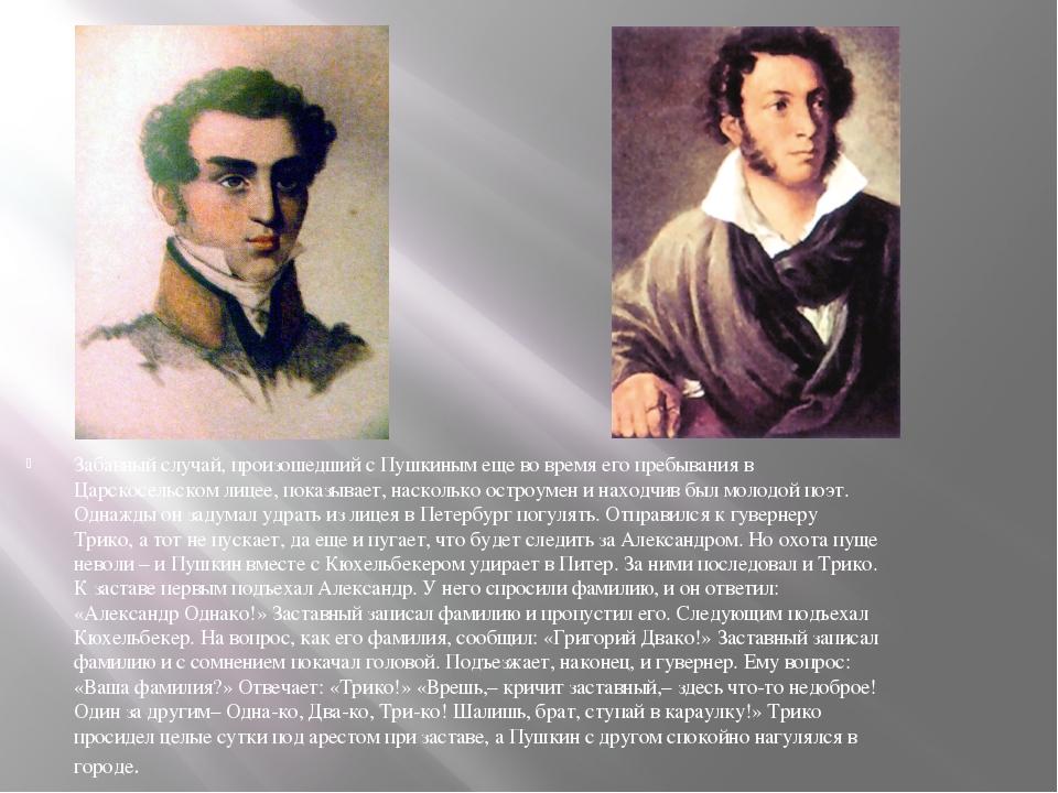 Забавный случай, произошедший с Пушкиным еще во время его пребывания в Царско...