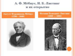 А. Ф. Мёбиус, И. Б. Листинг и их открытие Август Фердинанд Мёбиус (1790 – 186