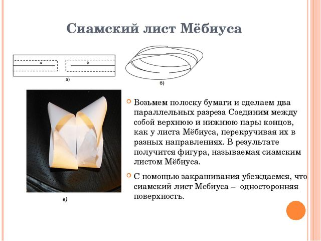 Сиамский лист Мёбиуса Возьмем полоску бумаги и сделаем два параллельных разре...