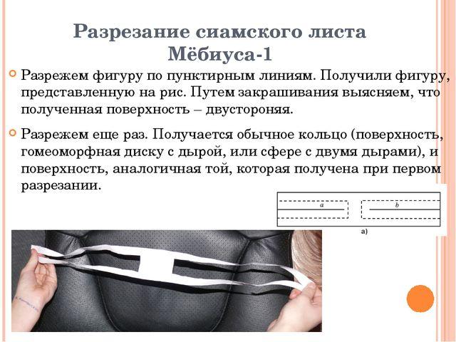 Разрезание сиамского листа Мёбиуса-1 Разрежем фигуру по пунктирным линиям. По...