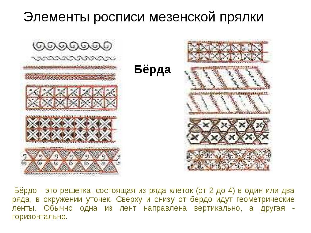 Элементы росписи мезенской прялки Бёрда Бёрдо - это решетка, состоящая из ря...