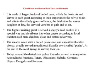 Kazakhstan traditional food facts and features It is made of large chunks of