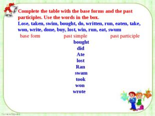 Complete the table with the base forms and the past participles. Use the wor
