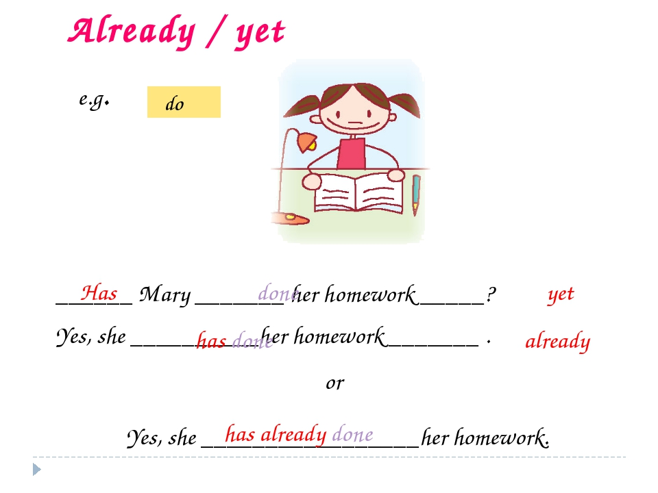 ______ Mary _______ her homework _____? Yes, she __________her homework _____...