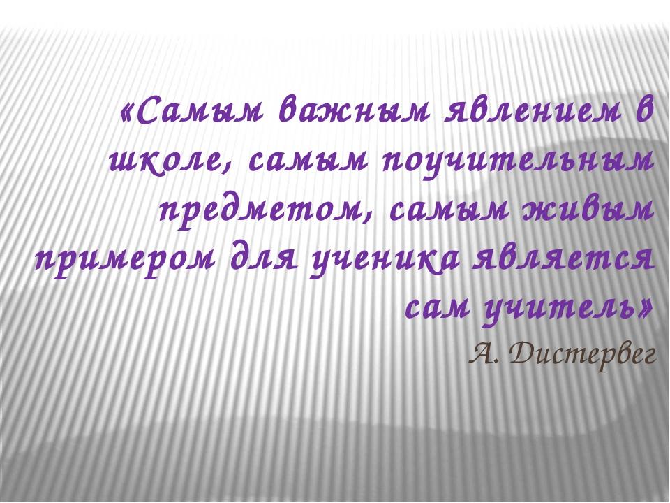 «Самым важным явлением в школе, самым поучительным предметом, самым живым при...