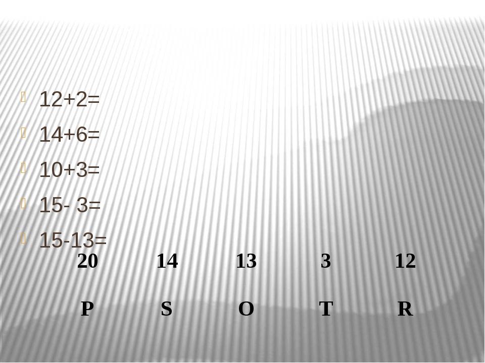12+2= 14+6= 10+3= 15- 3= 15-13= 20 14 13 3 12 P S O T R