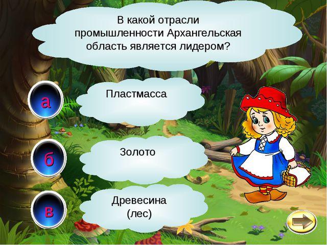в а б В какой отрасли промышленности Архангельская область является лидером?...