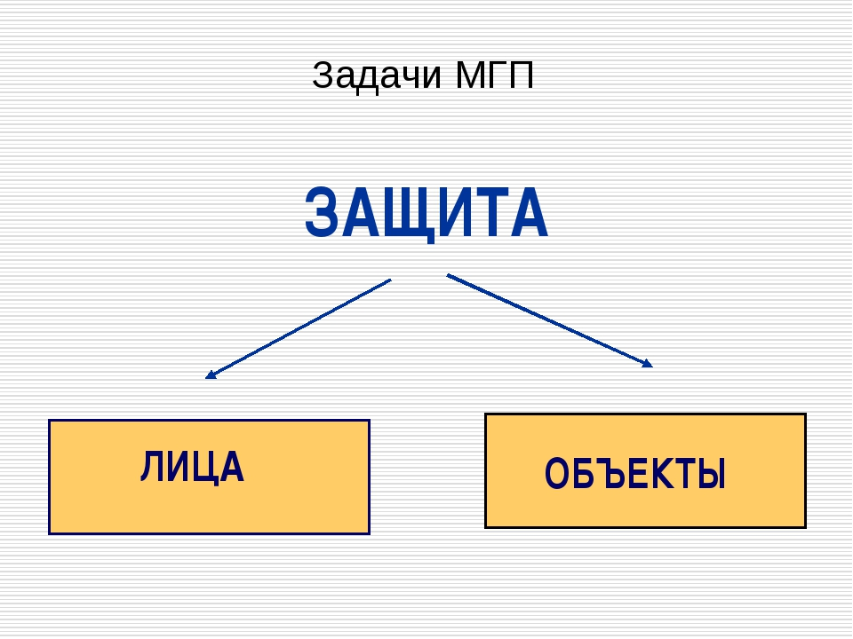 ЗАЩИТА ЛИЦА ОБЪЕКТЫ Задачи МГП