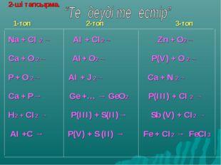 2-ші тапсырма. 1-топ 2-топ 3-топ Na + CI 2 → AI + CI2→ Zn + O2→ Ca + O 2→ АІ+