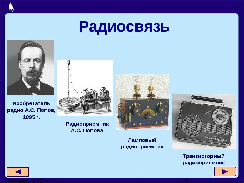 Радиосвязь Изобретатель радио А.С. Попов, 1895 г. Ламповый радиоприемник Тра...