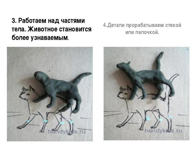3. Работаем над частями тела. Животное становится более узнаваемым. 4.Детали...
