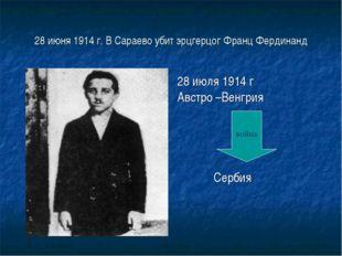 28 июня 1914 г. В Сараево убит эрцгерцог Франц Фердинанд 28 июля 1914 г Австр