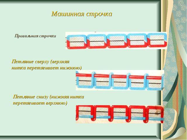 Машинная строчка Правильная строчка Петляние сверху (верхняя нитка перетягива...