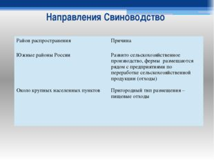 Направления Свиноводство Район распространения Причина Южные районы России Ок