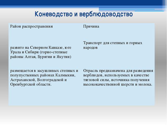 Коневодство и верблюдоводство Район распространения Причина развито на Северн...
