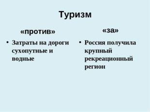 Туризм «за» Россия получила крупный рекреационный регион «против» Затраты на