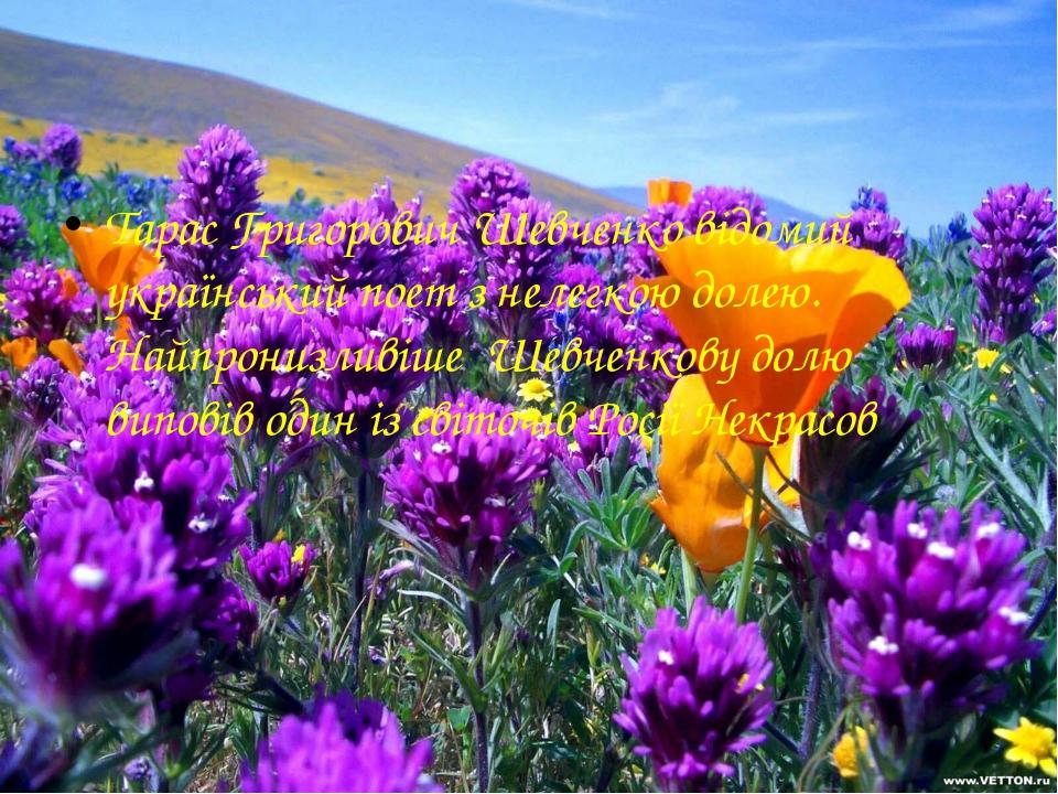 Тарас Григорович Шевченко відомий український поет з нелегкою долею. Найпрони...