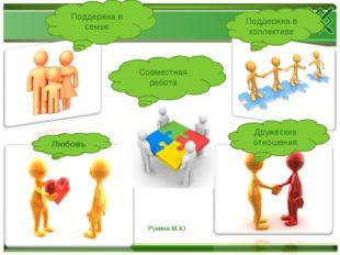 Поддержка в семье Дружеские отношения Любовь Совместная работа Поддержка в ко