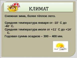 Снежная зима, более тёплое лето. Средняя температура января от -10° С до -40°