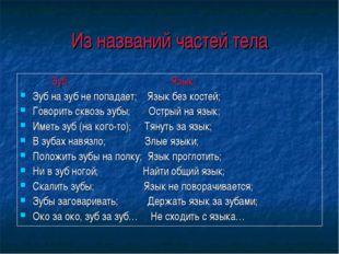 Из названий частей тела Зуб: Язык: Зуб на зуб не попадает; Язык без костей; Г