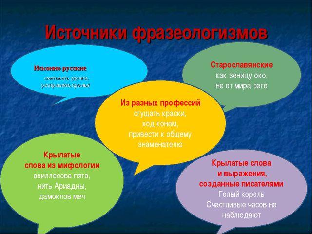 Источники фразеологизмов Исконно русские сматывать удочки, расправлять крылья...