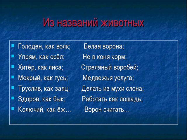 Из названий животных Голоден, как волк; Белая ворона; Упрям, как осёл; Не в к...