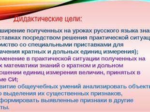 Дидактические цели: 1) расширение полученных на уроках русского языка знаний