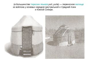 Ю́рта (в большинстве тюркских языков yurt, yurta)— переносное жилище из войл