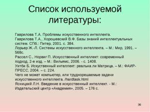 Список используемой литературы: * Гаврилова Т.А. Проблемы искусственного инте
