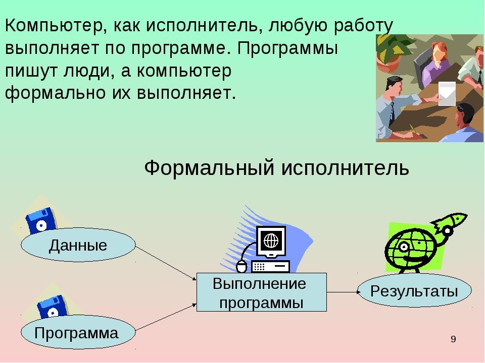 * Компьютер, как исполнитель, любую работу выполняет по программе. Программы...