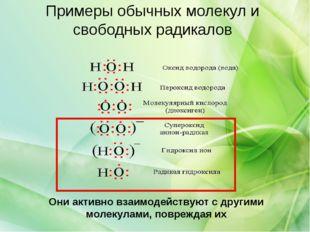Примеры обычных молекул и свободных радикалов Они активно взаимодействуют с д