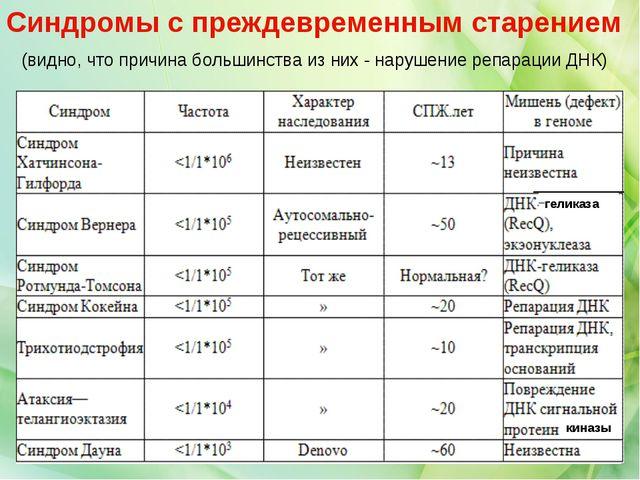 геликаза киназы Синдромы с преждевременным старением (видно, что причина боль...