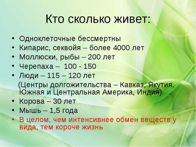 Кто сколько живет: Одноклеточные бессмертны Кипарис, секвойя – более 4000 лет...