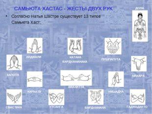 САМЬЮТА ХАСТАС - ЖЕСТЫ ДВУХ РУК Согласно Натья Шастре существует 13 типов Сам