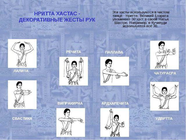 НРИТТА ХАСТАС - ДЕКОРАТИВНЫЕ ЖЕСТЫ РУК Эти хасты используются в чистом танце...