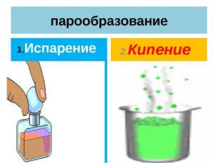 парообразование 1.Испарение Происходит при любой температуре Температура испа