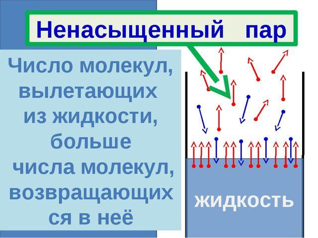 жидкость жидкость Число молекул, вылетающих из жидкости, больше числа молеку...